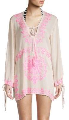 Pink Embroidered Tunic - ShopStyle