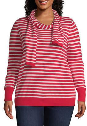 Liz Claiborne Stripe Sweater - Plus