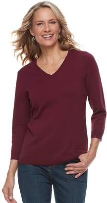 Croft & Barrow Women's V-Neck Lightweight Sweater