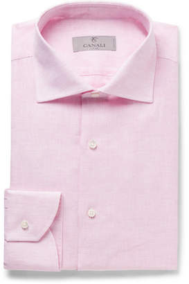 Canali Light-Pink Slub Linen Shirt