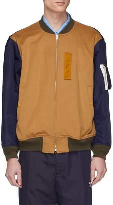 Digawel Contrast sleeve wool melton MA-1 bomber jacket