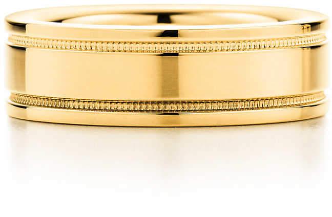 Tiffany & Co. Flat double milgrain wedding band ring