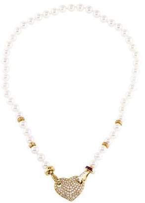 18K Pearl, Diamond & Ruby Heart Pendant Necklace