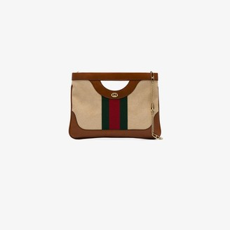 Gucci brown large vintage canvas shoulder bag