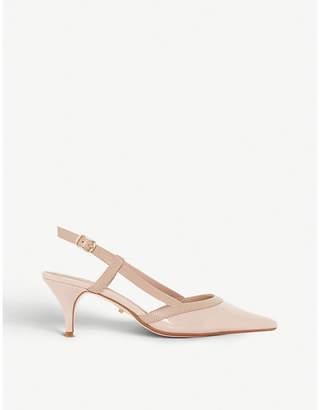 Dune Corra slingback patent-leather kitten heels