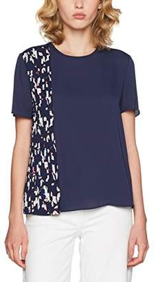 ... Tommy Hilfiger Women s NALISE Pleated TOP SS T-Shirt, Blue (Hatty PRT  Solid f54f11833f28