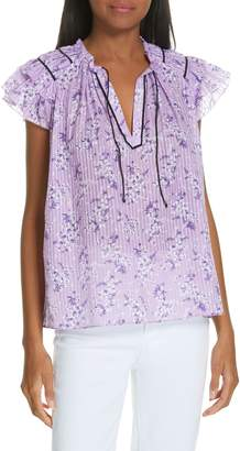 Ulla Johnson Ida Floral Print Cotton & Silk Top