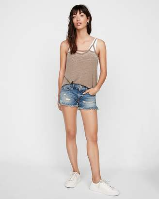 Express Low Rise Medium Wash Original Distressed Cutoff Denim Shorts