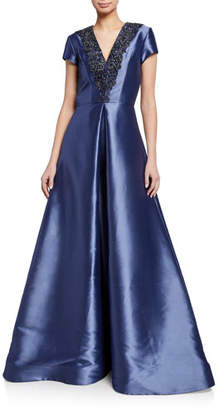 Theia Beaded-Trim V-Neck Cap-Sleeve Faille Gown w/ Inverted Pleat