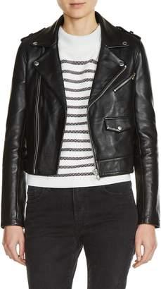Maje Lambksin Leather Moto Jacket