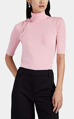 Prada Women's Bow-Detailed Silk Mock-Turtleneck Sweater - Pink