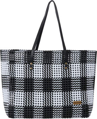 Maeri Design Black & White Check Shoulder Tote