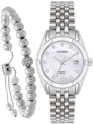 Citizen Swarovski® Crystal Mother-of-Pearl Dial Stainless Steel Bracelet Ladies Gift Set