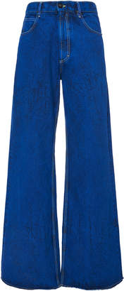 Marni Wide Leg Denim Frayed Pants