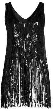Nanette Lepore Psychedelic Sequin Fringe Slip Dress