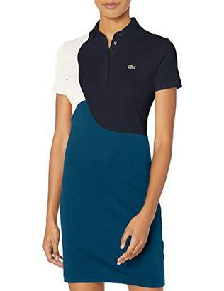 Lacoste Women's Short Sleeve PIMA Color Block Polo Dress