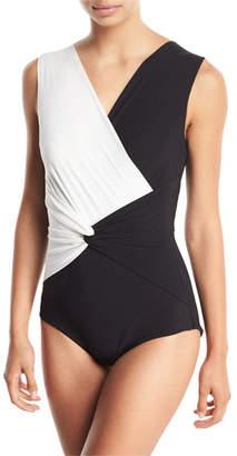 Chiara Boni Filly Twist-Front Colorblock One-Piece Swimsuit
