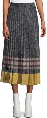 Derek Lam 10 Crosby Pleated Metallic Knit Midi Skirt