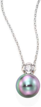 Majorica Women's 9MM Grey Baroque Pearl & Cubic Zirconia Pendant Necklace