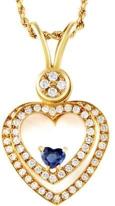 Waltham 18K Yellow Gold 1ct Diamond & Floating Sapphire Heart Pendant Necklace