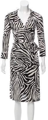 Diane von Furstenberg Silk Animal Print Wrap Dress