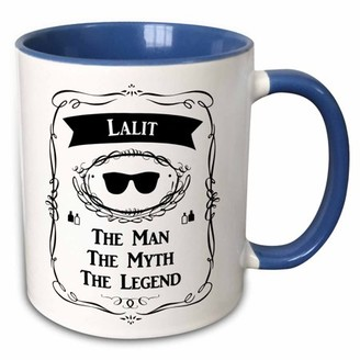3dRose Lalit The Man The Myth The Legend sunglasses and cologne bottle design - Two Tone Blue Mug, 11-ounce