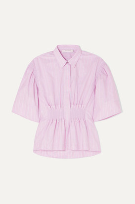 Cédric Charlier Shirred Striped Cotton-poplin Shirt - Pink