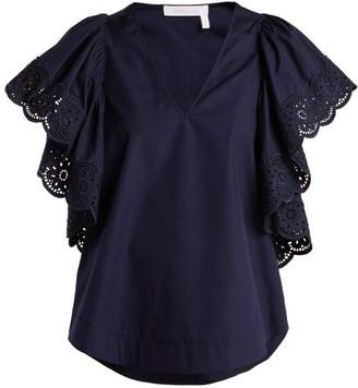 See by Chloe Broderie Anglaise Cotton Poplin Top - Womens - Navy