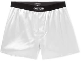 Velvet-Trimmed Stretch-Silk Satin Boxer Shorts