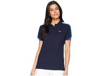 Lacoste Short Sleeve Crepe Pique Made In France Polo Women's Clothing
