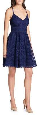 GUESS Lace-Embroidered Fit-&-Flare Dress