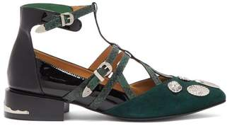 Toga Studded Suede And Patent Leather Flats - Womens - Dark Green