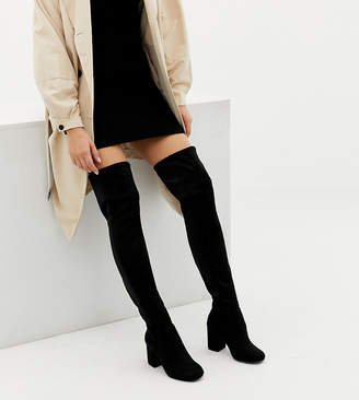 d9ad2210f8c Asos Design DESIGN Wide Fit Extra Wide Leg kadi heeled over the knee boots