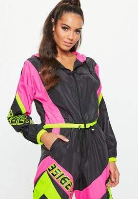 Missguided Neon Pink Motorcross Shell Suit Jacket