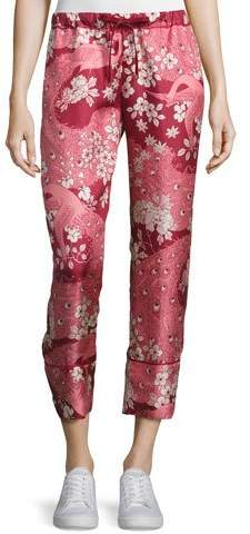 Moncler Moncler Cropped Floral Silk Satin Pants, Blush