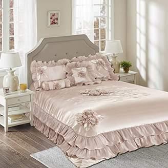 Tache Home Fashion 6 Piece Ruffled Elegant Faux Satin Comforter Set