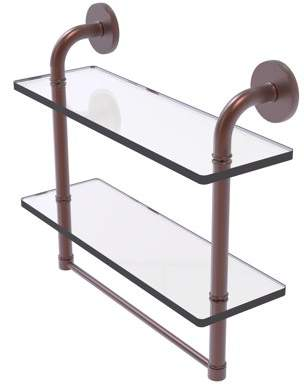 Allied Brass Remi Collection 16 Inch Two Tiered Glass Shelf with Integrated Towel Bar