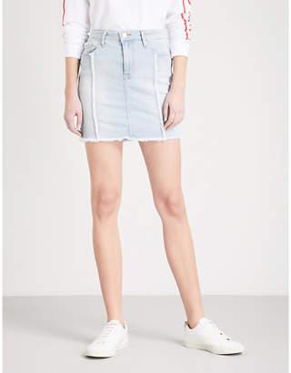 Good American Distressed Seam denim mini skirt