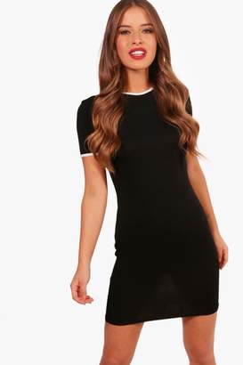 boohoo Petite Michela Contrast Binding T-shirt Dress