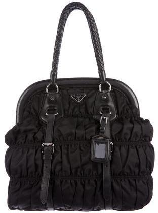 pradaPrada Leather-Trimmed Tessuto Gaufre Bag