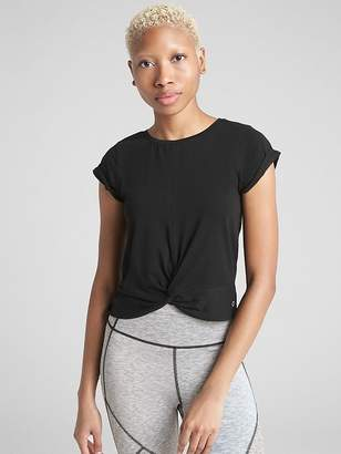 Gap GapFit Twist-Front Crop T-Shirt in Supima Cotton