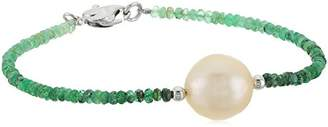 Honora Sterling Silver Natural Ming Freshwater Cultured Pearls with Emerald Ombre Faceted Graduation Bracelet