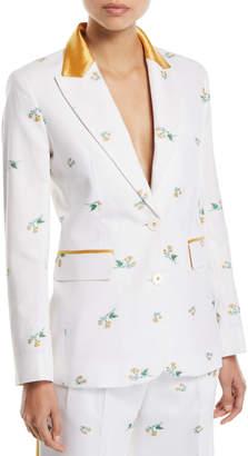 Racil George Floral Satin-Collar Slim Blazer
