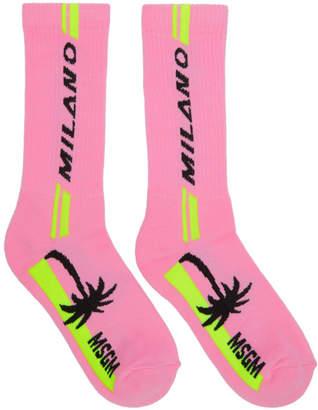 MSGM Pink Milano Palm Socks