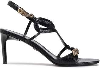 Roberto Cavalli Embellished Lizard-effect Leather Slingback Sandals