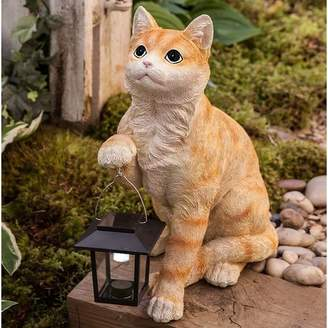 Wind & Weather Cat with Solar Lantern Statue