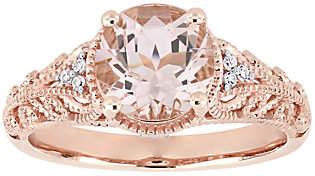 QVC 14K 1.75 cttw Morganite & Diamond Accent Vintage-Style Ring