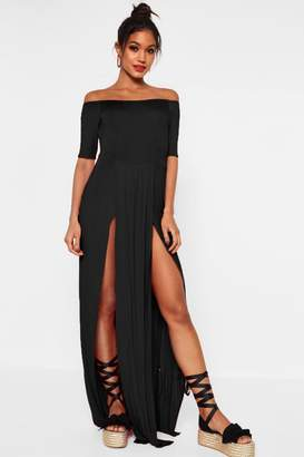 boohoo Half Sleeve Double Front Split Maxi Dress
