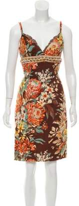 Dolce & Gabbana Embellished Linen Dress Brown Embellished Linen Dress