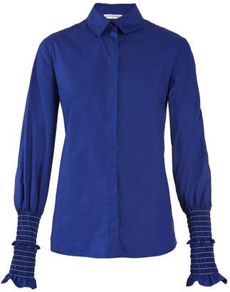 Altuzarra Jorda smocked-cuff cotton-poplin shirt